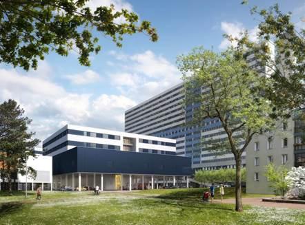 Vue du nouveau batiment de l'hôpital Henri Mondor