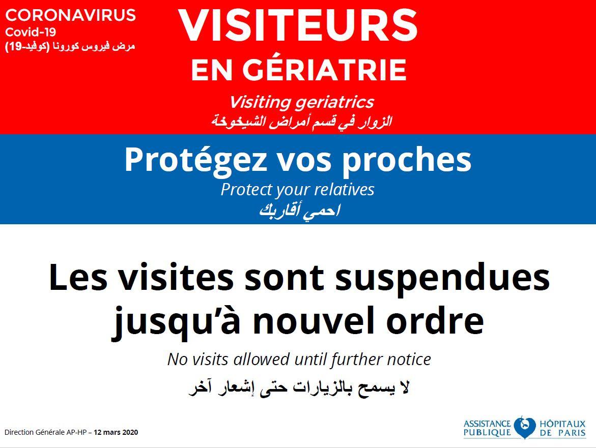 Coronavirus COVID-19 : interdiction des visites dans les services de gériatrie