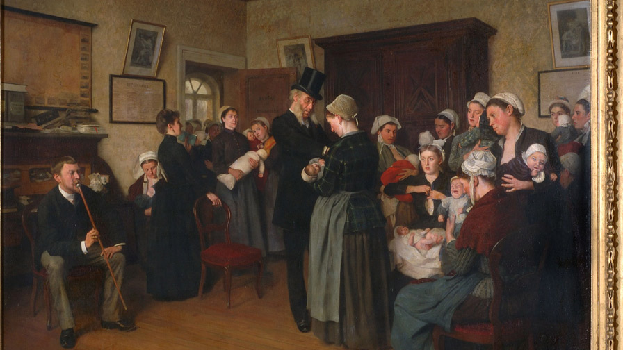Un bureau de nourrices, J. Frappa, 19e, peinture.