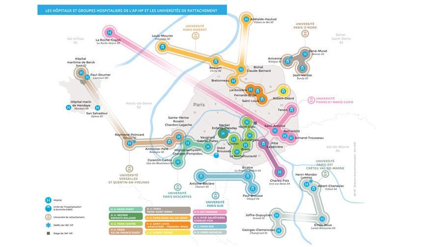 Carte des groupes hospitaliers de l'Assistance Publique - Hôpitaux de Paris, montrant chaque hôpital et université