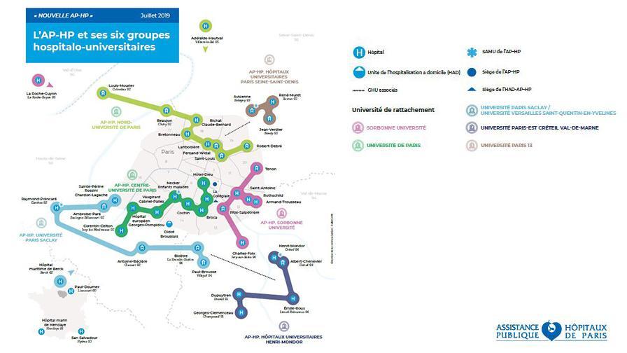 Carte des groupes hospitalo-universitaires - Hôpitaux de Paris