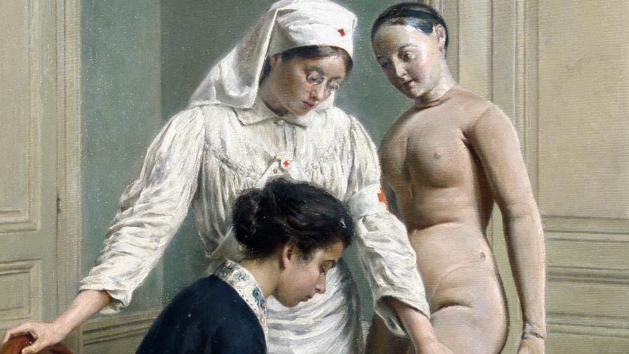 Démonstration de pansement sur mannequin, 1916, Didier Clovis.