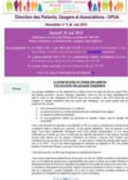 Newsletter de la Direction des Patients - Usagers et Associations n° 8 - mai 2015