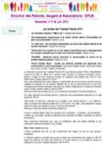 Newsletter de la Direction des Patients, Usagers et Associations n° 9 - juin 2015 (PDF, 582 Ko)
