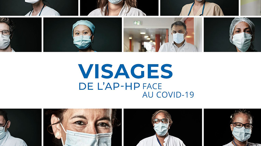 """Couverture du livre """"Visages de l'AP-HP face au Covid-19"""""""
