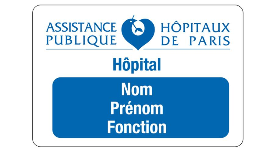 Badge bleu : personnel hospitalier, soignant